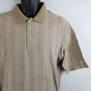 Nike Golf Striped Polo Shirt Tan Brown Large